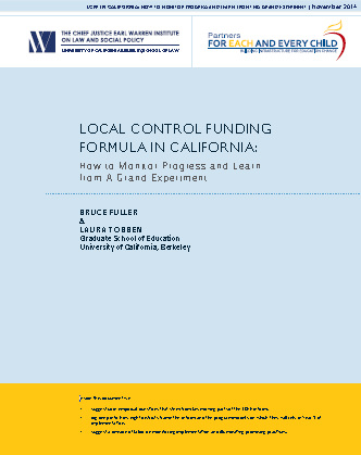 Local Control Funding Formula in California: How to Monitor Progress and Learn from a Grand Experiment