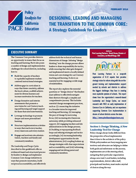 Designing, Leading and Managing the Transition to the Common Core: A Strategy Guidebook for Leaders